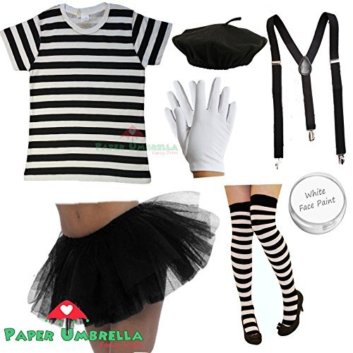 Ladies FRENCH MIME Fancy Dress Costume 7 PIECE SET circus artist Hen outfit (Women: 10-12) by PAPER UMBRELLA