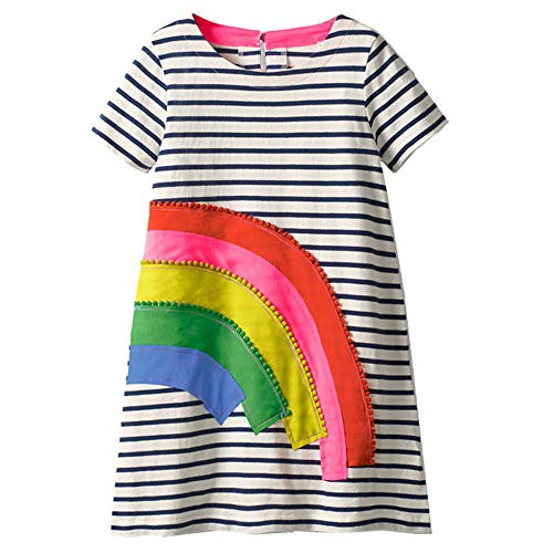 r Kleinkind Kinder niedlich Cartoon Langarm Baumwolle Party Prinzessin Kleid Herbst Winter Casual Foto-Shoot Weihnachten Kleider für Alter 2-7 Jahre Gr. 3-4 Jahre, Regenbogenfarben ()