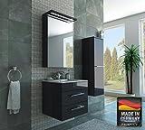 MISPA© Badezimmer Badmöbel-Komplett-Set inklusive Hochschrank, Anthrazit/Hochglanz - 60cm, LED-Beleuchtung, Softclose-Technologie, Waschbecken, Unterschrank, Spiegelschrank, Made in Germany