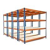 Racking Solutions - MEGA DEAL - 4 unidades de estantería / Estante del garaje de acero, cargas pesadas, capacidad de carga total 6400kg (4 niveles 1800mm Al x 1800mm An x 600mm Pr) + Envío gratis