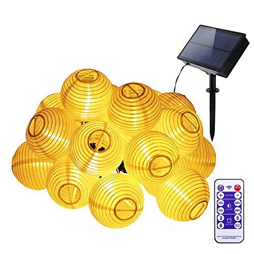 FORNORM Guirlandes solaires améliorées de lanterne, FORNORM 3M / 9.8ft 20LEDS guirlandes chinoises de lanterne IP65 imperméable, 4 luminosité 8 modes de lumière pour la décoration de jardin