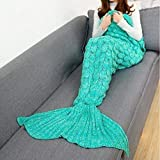 Seablue Handmade Knitted Mermaid Tail Blanket, Warm Sofa Quilt Living room blanket for Adults and Kids 180cmX80cm(71 x 32 inch ) (608 Green)