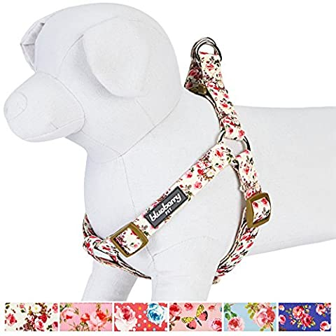 Blueberry Pet Step-in Spring Scent Inspired Pink Rose Print Ivory Dog Harness, Chest Girth 67cm-98cm, Large, Adjustable Harnesses for