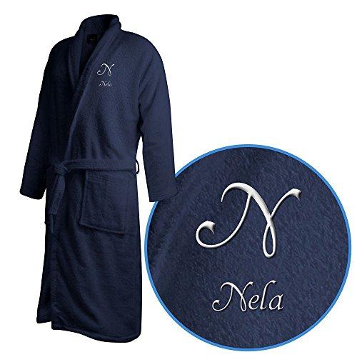 Bademantel mit Namen Nela bestickt - Initialien und Name als Monogramm-Stick - Größe wählen Navy