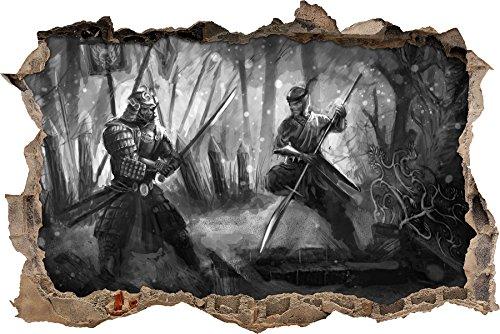 Kampf zwischen Samurai und Ninja Kunst B&W Wanddurchbruch im 3D-Look, Wand- oder Türaufkleber Format: 92x62cm, Wandsticker, Wandtattoo, (Kostüm Den Japanischen Karate)