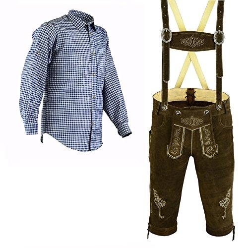 Herren Trachten Lederhose Dunkelbraun Inkl.Hosen Träger Größe 46-62 Trachten Set Blau Hemd (Lederhose 56 Blau Hemd XXL)