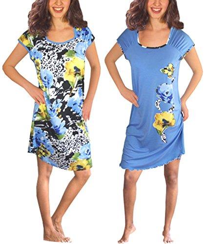 Damen Kurzarm Nachthemd Baumwolle 2 Stück Packung DF804-805 Blau