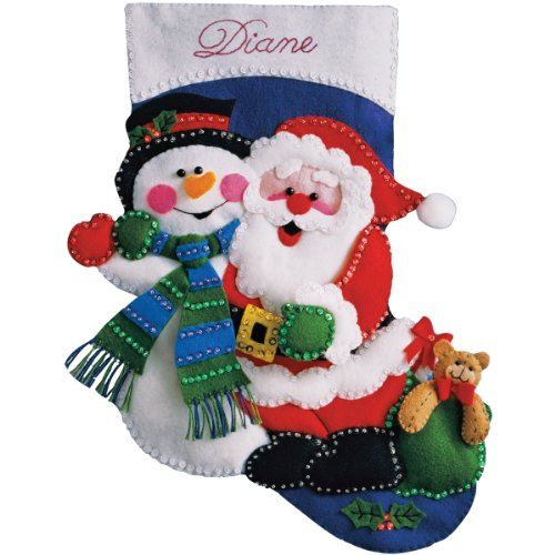 Design Works Santa and Snowman Felt Stocking, Multi-Color