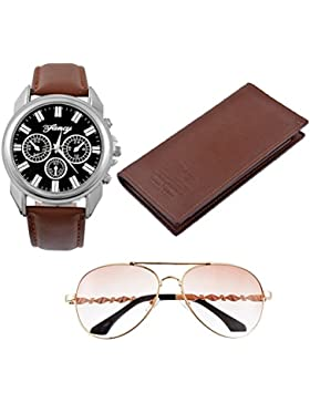 Souarts Herren Geschenkset mit Armbanduhr Sonnenbrille Geldbörse Geschenkset für Herren