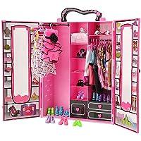 Miunana 41 Accesorios para Barbie Dolls Muñecas: 1 Armario + 4 Vestidos Ropa + 1 Bolsa + 1 PCS Gafas + 10 PCS Zapatos + 10 Perchas + 7 Collares + 6 Coronas
