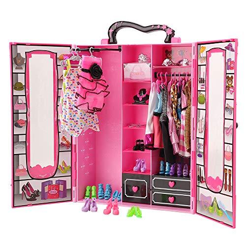 Miunana 43 PCS Kleiderschrank Möbel für Barbie Puppen = 1 Schrank + 5 Kleider + 12 Schuhe + 10 Kleiderbügel + 7 Halsketten + 6 Kronen + 1 Tasche + 1 Brille (Barbie-puppe Brille)