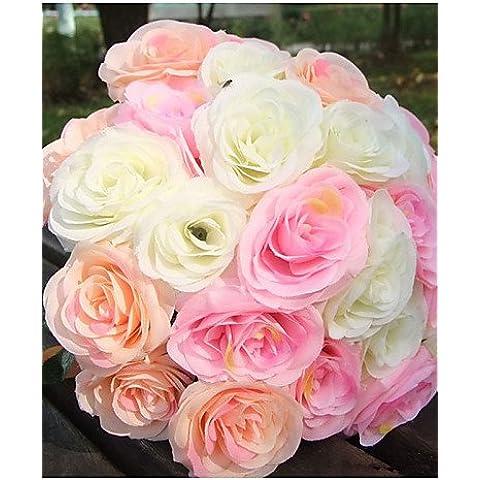 flores artificiales, la simulación de 10 de alto grado rosas del ramo de mano (color al azar)