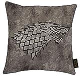 Game Of Thrones Cojín Westeros Mapa Casa Lannister Y Casa Stark 38 X 38 cm Lona Impresa Almohada De Felpa con Almohadilla Incluida | Nueva Temporada Idea De Regalo para Los Fans (Casa Stark - Gris)