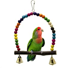 Xiton Parrot Toy Bird Supplies Bite Swing Stand Stand Bar Color Beads Log with Leather Swing