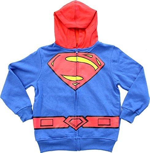 Dc Comics Superman Logo Jungen blau Zip Up Kostüm Hoodie Sweatshirt (Kleinkind (Superman Kostüm 2t)
