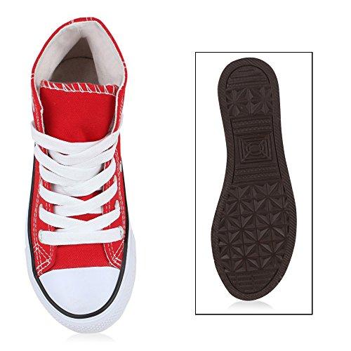 Kinder Mädchen Jungen Sneakers High Top Sportschuhe Stoffschuhe Schnürer Rot