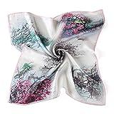 Neuleben Nickituch aus Seide Blumen Tuch Bandana Halstuch für Damen 12 Muster (Rot)