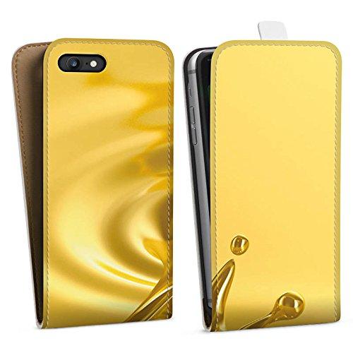 Apple iPhone X Silikon Hülle Case Schutzhülle Tropfen Gold Krone Downflip Tasche weiß