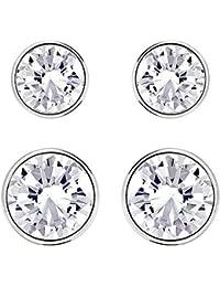 Swarovski Damen-Schmuckset Harley Medium Ohrringe Set rhodiniert Kristall weiß - 5181485