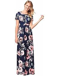 Las mujeres de impresión floral de manga corta Boho vestido de damas de noche Party Maxi