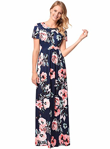 Damen Kurzarm Boho Blumenabend Party Langes Maxi Kleid mit Taschen Navy L (Kleid Maxi Casual)