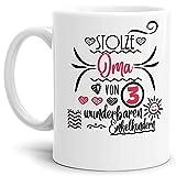 Oma-Tasse Stolze Oma von 3 Enkelkindern Weiss - Mug/Cup / Becher/Schön / Großeltern/Geschenk-Idee
