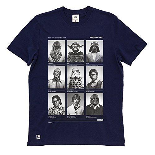Star Wars T-Shirt mit Vader Wookie Yoda Leia Luke chunk Markenware großer Frontprint grau Marine