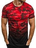 OZONEE Herren T-Shirt mit Motiv Kurzarm Rundhals Figurbetont Camouflage Breezy 525BT Rot L