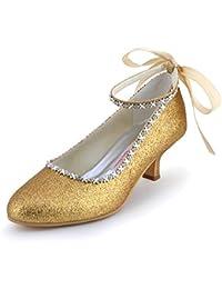 ElegantPark EP31010 Punta Rotonda Toe Chunky Heel Glitter PU Cinta Tie correa Noche fiesta zapatos