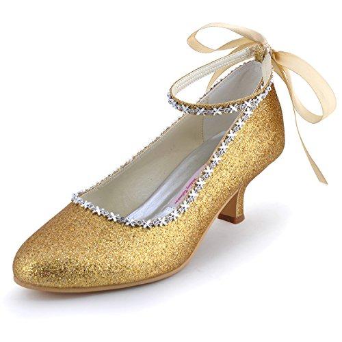 Elegantpark EP31010 PU Punta Rotonda Nastro Tacco Medio Cinturino scarpe a Tacco da sposa Ballo Champagne 42