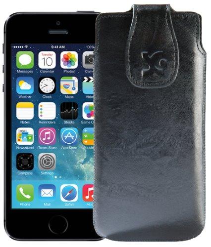 Original Suncase ECHTLEDER Tasche für | Apple iPhone SE / iPhone 5S | Leder Etui Handytasche Ledertasche Schutzhülle Case Hülle in wash-rot Wash-Schwarz