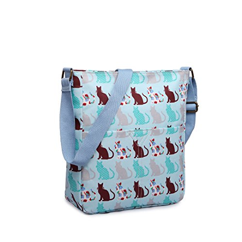 Miss LuLu Umhängetasche Messenger Bag Schultertasche Damen Mädchen Drucken Wachstuch (LC1644-Katze/Grau) LC1644-Katze/Hellblau