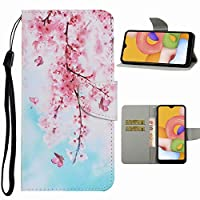 EnjoyCase Flip Case for Samsung Galaxy S20 Plus,Pretty Cherry Blossom Flower Pattern Pu Leather Wrist Strap Magnetic Clasp Stand Function Colorful Wallet Case Cover with Card Slots