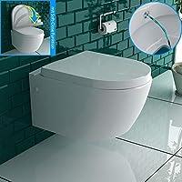 weiss keramik toilette wand hange wc mit bidet taharet funktion mit soft close dusch