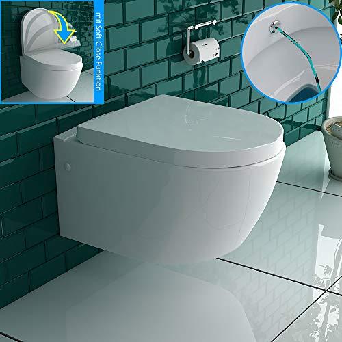 Weiss Keramik Toilette Wand Hänge WC mit Bidet/Taharet Funktion mit Soft-Close Dusch WC