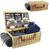 HappyPicnic cestino da picnic in vimini per 4persone, salice cestino di servizio set regalo per campeggio e party blue-4