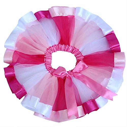 Honeystore Mädchen's Rock Schminktisch Märchen Prinzessin Party Tutu Rock Unterkleid Tütü Prinzessin Petticoat für Karneval, Party und Hochzeit Weiß Rosa und Fuchsie (Tweed-faltenrock)