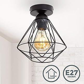 Plafoniera vintage, adatta per lampadina E27 non inclusa max 40W, filo metallico nero, diametro 22cm, lampadario per salotto o sala da pranzo, lampada da soffitto stile industriale, IP20
