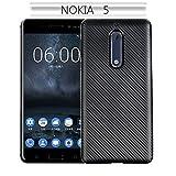GHC Cas et couvertures, pour Nokia 5, Couverture de Caisse Antichoc Hybride Molle TPU de Caoutchouc de Fibre de Carbone Mince (Couleur : Noir)
