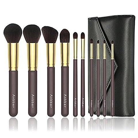 Anbber Kit pinceau maquillage, professionnel/Fondation pinceau maquillage synthétique brosse et eye-liner pinceau + sac cosmétique, brun avec de l