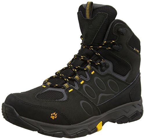 Jack Wolfskin MTN ATTACK 5 TEXAPORE MID M, Herren Trekking- & Wanderstiefel, Schwarz (burly yellow 3800), 42 EU (8 Herren UK)