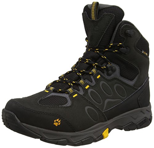 Jack Wolfskin Herren MTN ATTACK 5 TEXAPORE MID M Trekking- & Wanderstiefel, Schwarz (burly yellow 3800), 40.5 EU