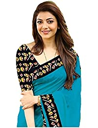 Indian Beauty Cotton Saree (KAJAL-SKY_Blue_Free Size)