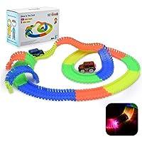 HEYSAMO Autorennbahn Leuchtend für Kinder ab 2 Jahre Magic Twister Tracks Set inklusive 220 Schienen (3m Lang) + 2 Blinken E-Autos, Neon Glow Spielzeug Rennbahn aus ABS Materialien, frei von BPA.
