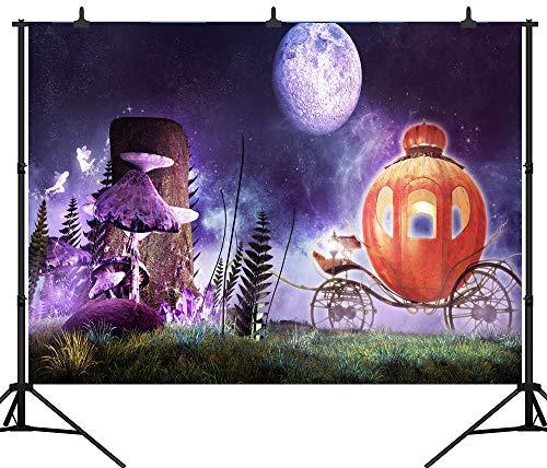 DePhoto 10X8FT (300X240CM) Halloween Theme Kürbis Kutsche Laterne Maßgeschneiderte Nahtlose Vinyl Fotografie Hintergrund Foto Hintergrund Studio Prop PGT252C
