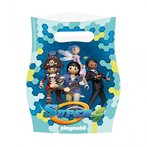 Preisvergleich Produktbild 8 Partytüten für Mitgebsel SUPER4 Playmobil Kindergeburtstag