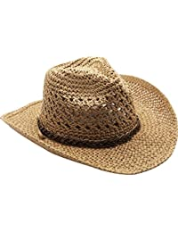 URqueen Women's Straw Round Up Cowboy Ranch Hat with Chin Strap
