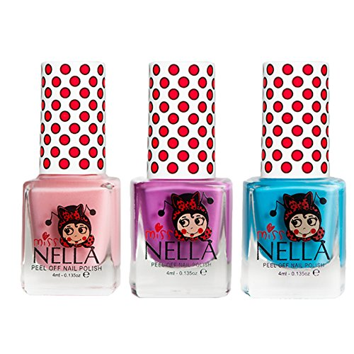 Miss Nella Mermaid Blue, Little Poppet, Cheeky Bunny Glitter Special Glitter Kids Nail Polish with Peel-off Water Based Formula by MissNella -