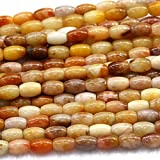 "Earth Gems Park Super Fine Quality Gems Jewelry 1 Strands Natural Golden Jasper Yellow Jade Rice Shape Loose Small Oval Beads 8x10mm 15"" 03821 Code:- BF-23500"