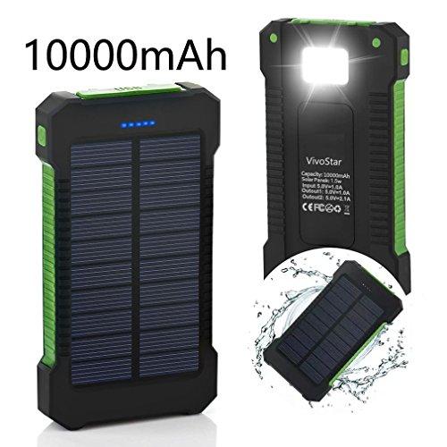 Solar Ladegerät, VivoStar 10000 mAh Solar Power Bank mit Solar Paneel dualer USB Anschluss tragbares Ladegerät, solarbetriebenes Akku Ladegerät mit LED-Licht